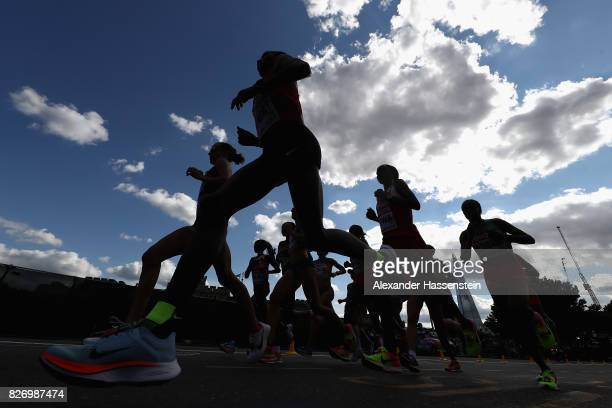 Edna Ngeringwony Kiplagat of Kenya competes in the Women's Marathon during day three of the 16th IAAF World Athletics Championships London 2017 at...