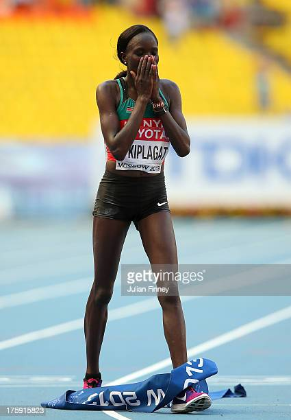 Edna Ngeringwony Kiplagat of Kenya crosses the line to win gold in the Women's Marathon during Day One of the 14th IAAF World Athletics Championships...