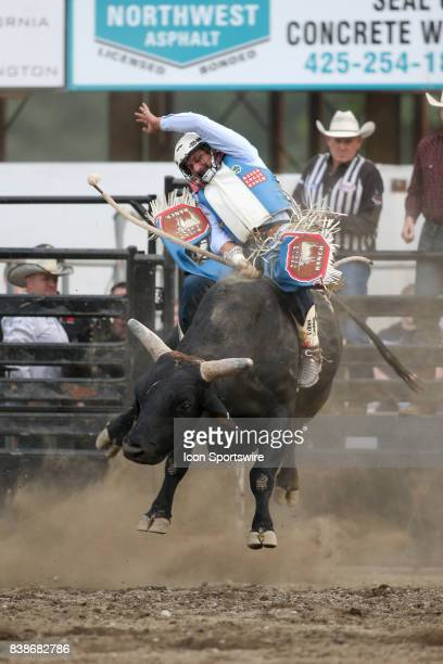 Ednei Caminhas scored a 74 while riding the bull Bad Black during the first round of the PRCA Pro Rodeo Extreme Bulls 'Beauty and the Beasts'...
