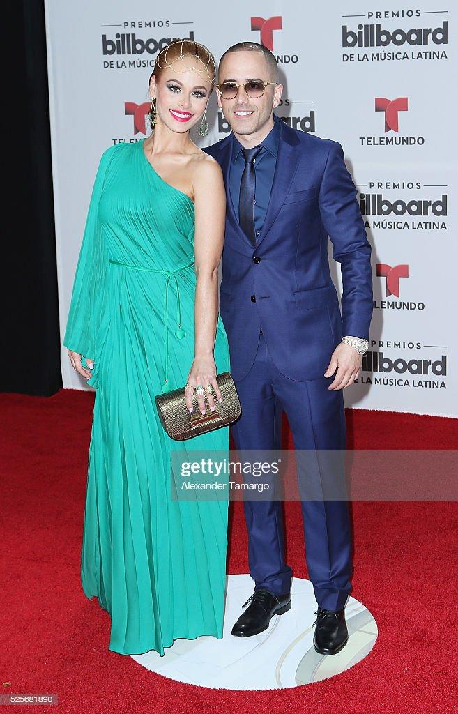 Edneris Espada Figueroa and Yandel attend the Billboard Latin Music Awards at Bank United Center on April 28, 2016 in Miami, Florida.