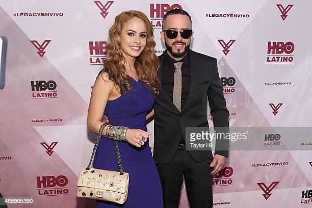 Edneris Espada Figueroa and Yandel attend the Camino Al Concierto PreConcert VIP Screening at Center 548 on April 7 2015 in New York City