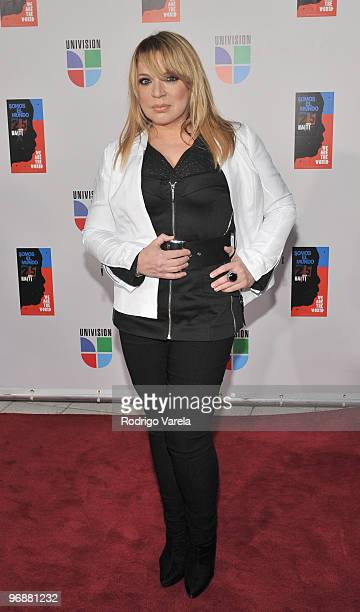 Ednita Nazario arrives at recording of 'Somos El Mundo' 'We Are The World' by Latin recording artist at American Airlines Arena on February 19 2010...