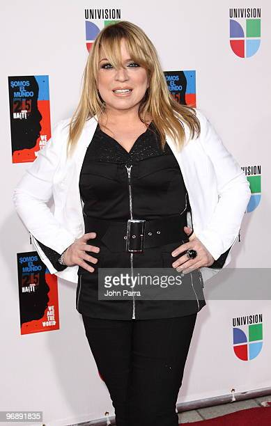 Ednita Nazario arrives at recording of 'Somos El Mundo' 'We Are The World' by Latin recording artits at American Airlines Arena on February 19 2010...