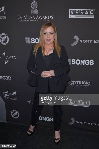 Ednita Nazario attends the black carpet of The MUSA Awards Latin Songwriters Hall of Fame at James L Knight Center on October 19 2017 in Miami Florida