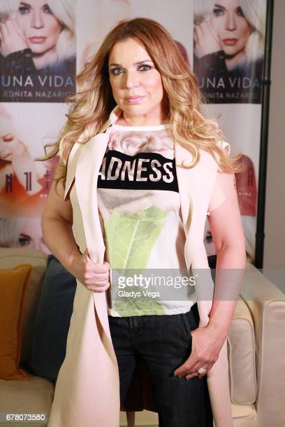 Ednita Nazario poses during the promotion for her new album and book 'Una Vida' on May 3 2017 in San Juan Puerto Rico
