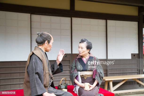 edo townspeople - topknot stock pictures, royalty-free photos & images