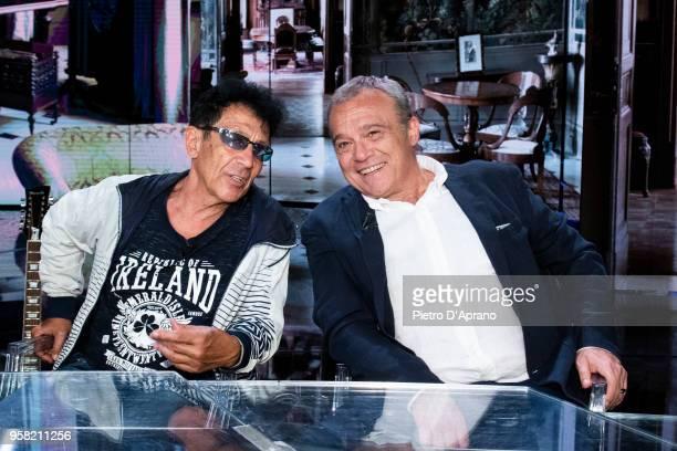 Edoardo Bennato and Claudio Amendola attends Che Tempo Che Fa tv show on May 13 2018 in Milan Italy