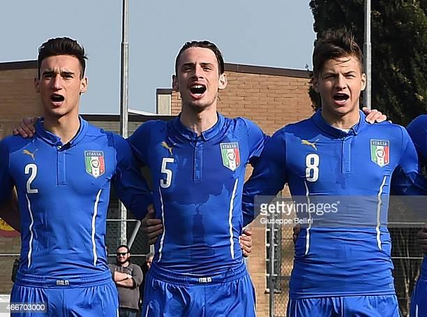 Edoardo Bianchi and Gianmaria Zanandrea and Alessio Militari of Italy before the international friendly match between U16 Italy and U16 Germany on...
