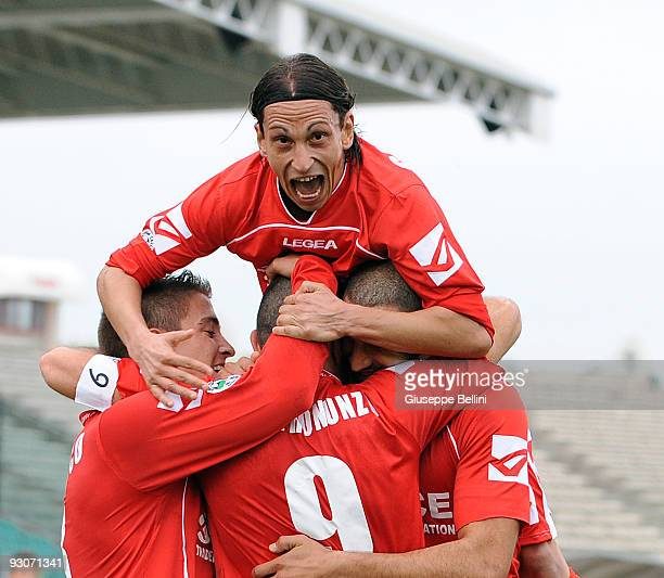 Edoardo Catinali of AC Ancona celebrates the goal during the Serie B match between AC Ancona and Vicenza Calcio at Del Conero Stadium on November 15,...