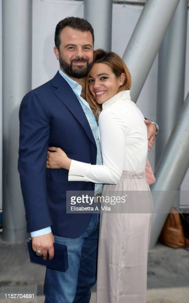 Edoardo De Angelis and Pina Turco attend the Nastri D'Argento 2019 nominees presentation at Maxxi Museum on May 30, 2019 in Rome, Italy.