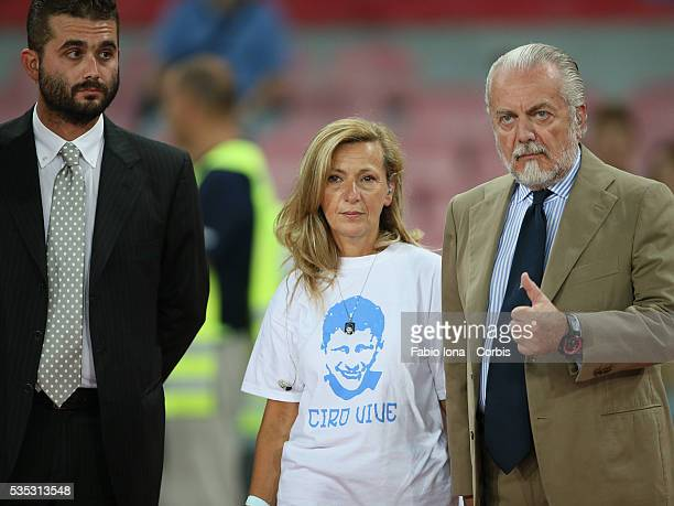 Edoardo De Laurentis with The President Aurelio De Laurentis and the mother Antonella Leardi speak in memory of Ciro Esposito death during the Tim...