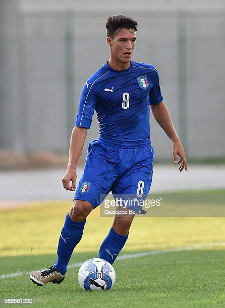 Edoardo Degl'Innocenti of Italy U19 in action during the international friendly match between Italy U19 and Croatia U19 at on August 11 2016 in...