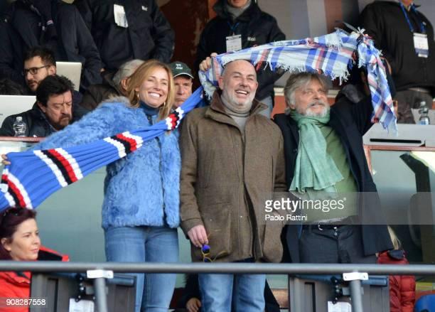 Edoardo Garrone old President of Sampdoria with his wife Anna Pettene and the actual Sampdoria President Massimo Ferrero during the serie A match...