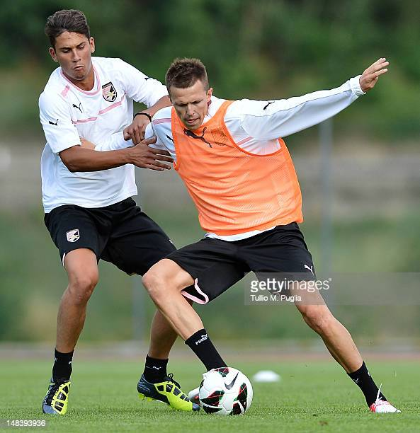 Edoardo Goldaniga and Josip Ilicic in action during a US Citta di Palermo preseason training session at Sport Well Center on July 15 2012 in Malles...