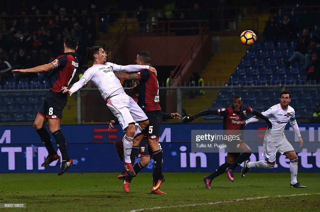 Edoardo Goldaniga of Palermo scores his team's second goal (3-2) during the Serie A match between Genoa CFC and US Citta di Palermo at Stadio Luigi Ferraris on December 18, 2016 in Genoa, Italy.