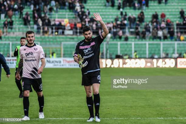 Edoardo Lancini and Alberto Pelagotti after the serie D match between SSD Palermo and Marsala at Stadio Renzo Barbera on January 05 2020 in Palermo...