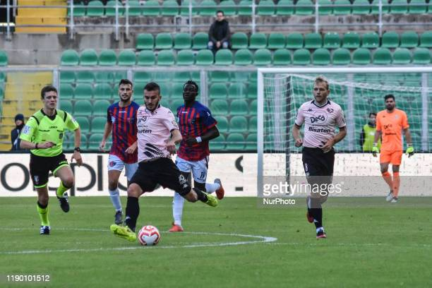 Edoardo Lancini and Malaury Martin during the serie D match between SSD Palermo and ASD Troina at Stadio Renzo Barbera on December 22, 2019 in...