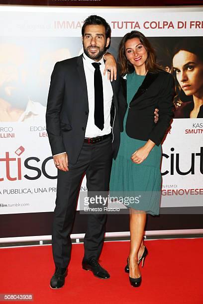 Edoardo Leo and Laura Marafioti attend a charity premiere for 'Perfetti Sconosciuti' at Auditorium Della Conciliazione on February 2, 2016 in Rome,...