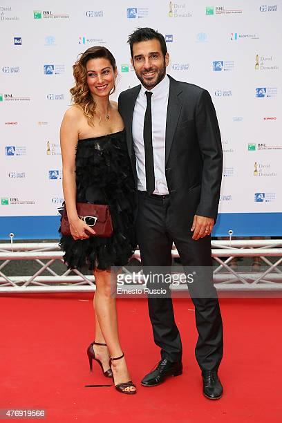 Edoardo Leo and Laura Marafioti attend the '2015 David Di Donatello' Awards Ceremony at Teatro Olimpico on June 12, 2015 in Rome, Italy.