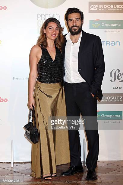 Edoardo Leo and wife Laura Marafioti attend Globi D'Oro 2016 Awards Ceremony at French Embassy Palazzo Farnese on June 9, 2016 in Rome, Italy.
