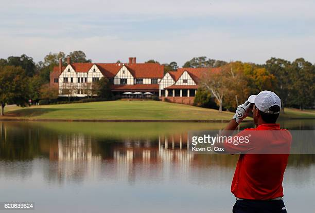 Edoardo Lipparelli of the Illinois Fightin Illini checks the distance on the 15th hole during day 2 of the 2016 East Lake Cup at East Lake Golf Club...