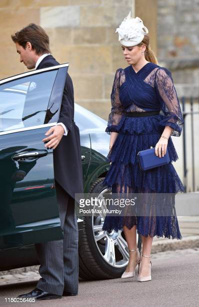 Edoardo Mapelli Mozzi and Princess Beatrice attend the wedding of Lady Gabriella Windsor and Thomas Kingston at St George's Chapel on May 18 2019 in...