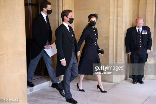 Edoardo Mapelli Mozzi and Princess Beatrice during the funeral of Prince Philip, Duke of Edinburgh at Windsor Castle on April 17, 2021 in Windsor,...