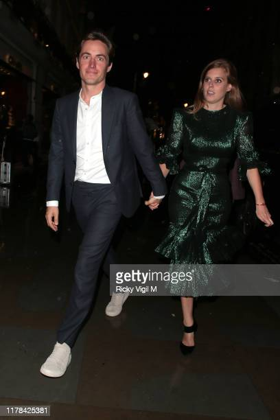 Edoardo Mapelli Mozzi and Princess Beatrice of York seen attending The Dior Sessions book launch party at Dior Boutique on October 01 2019 in London...