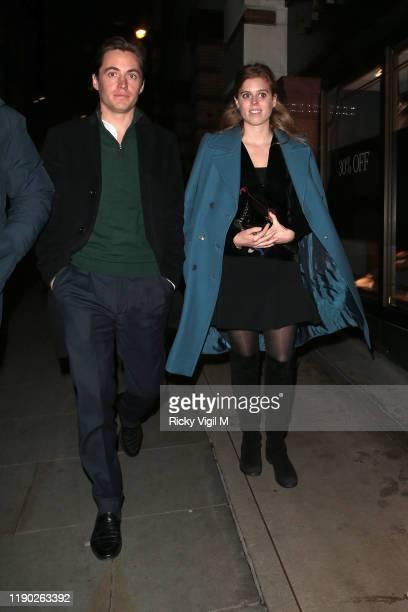 Edoardo Mapelli Mozzi and Princess Beatrice of York seen leaving Fayre of St James Christmas Carol Concert held at St James's Church on November 26,...