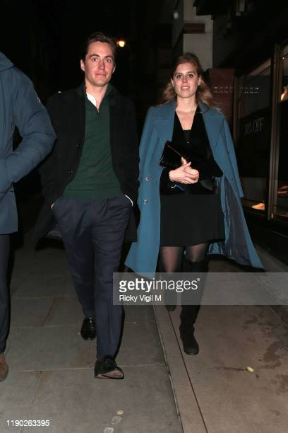 Edoardo Mapelli Mozzi and Princess Beatrice of York seen leaving Fayre of St James Christmas Carol Concert held at St James's Church on November 26,...