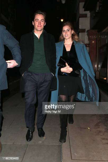 Edoardo Mapelli Mozzi and Princess Beatrice of York seen leaving Fayre of St James Christmas Carol Concert held at St James's Church on November 26...
