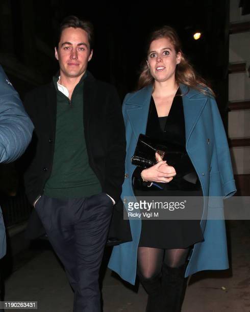 Edoardo Mapelli Mozzi and Princess Beatrice of York seen leaving Fayre of St James Christmas Carol Concert held at St James's Church on November 26...