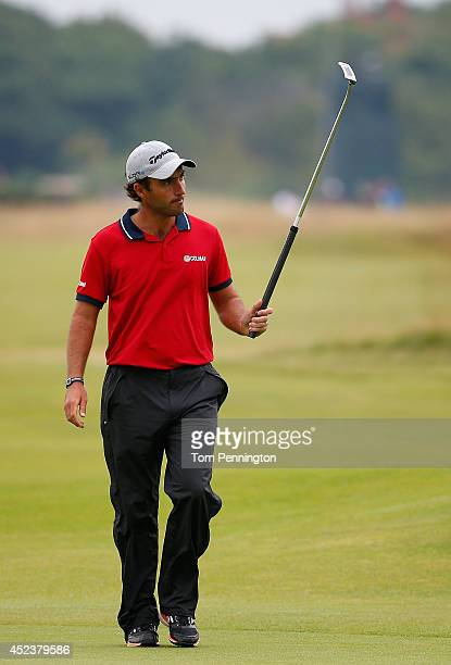 Edoardo Molinari of Italy acknowledges the crowd during the third round of The 143rd Open Championship at Royal Liverpool on July 19 2014 in Hoylake...