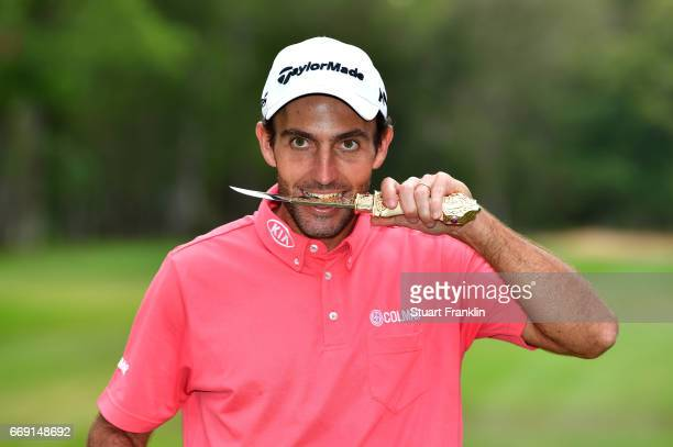 Edoardo Molinari of Italy celebrates following victory during the fourth round of the Trophee Hassan II at Royal Golf Dar Es Salam on April 16 2017...