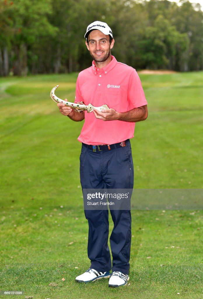 Edoardo Molinari of Italy celebrates following victory during the fourth round of the Trophee Hassan II at Royal Golf Dar Es Salam on April 16, 2017 in Rabat, Morocco.