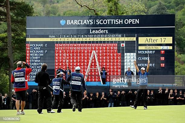 Edoardo Molinari of Italy celebrates on the 18th green after winning The Barclays Scottish Open at Loch Lomond Golf Club on July 11 2010 in Luss...