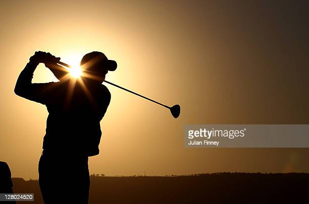 Edoardo Molinari of Italy in action during previews for the Madrid Masters Golf on October 5 2011 in Madrid Spain
