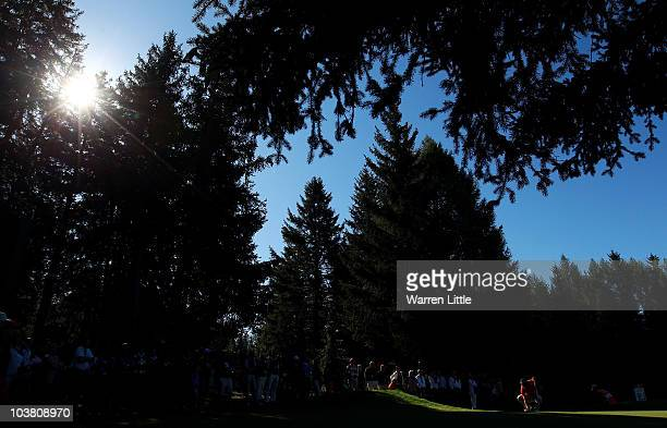 Edoardo Molinari of Italy lines up a putt for birdie on the 15th green during the second round of The Omega European Masters at CransSurSierre Golf...