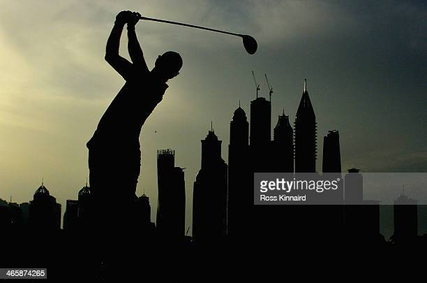 Edoardo Molinari of Italy on the 8th tee during the first round of the Omega Dubai Desert Classic on the Majlis course at the Emirates Golf Club on...