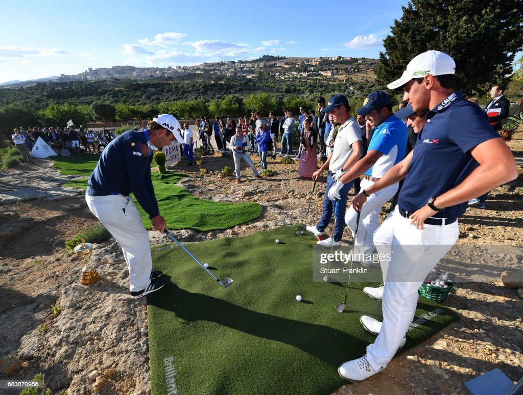 Edoardo Molinari of Italy plays a shot during a Ryder Cup Rome 2022 promotion event at the Valley of the Temples prior to the start of The Rocco Forte Open at Verdura Golf and Spa Resort on May 16, 2017 in Sciacca, Italy.