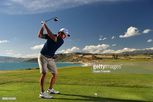 Edoardo Molinari of Italy plays a shot during practice prior to the start of The Rocco Forte Open at the Verdura golf resort on May 8 2018 in Sciacca...