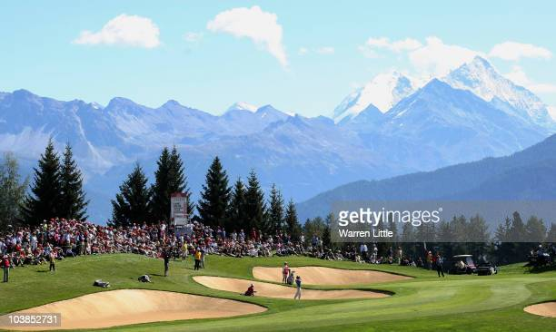 Edoardo Molinari of Italy plays from the seventh greenside bunker during the final round of The Omega European Masters at CransSurSierre Golf Club on...