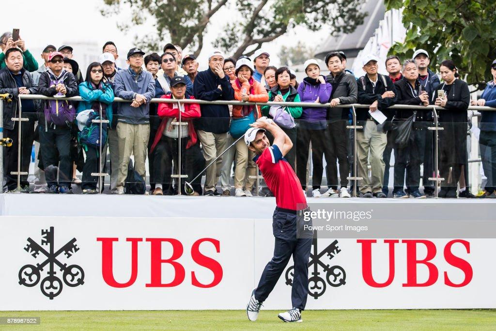 Edoardo Molinari of Italy tees off during round three of the UBS Hong Kong Open at The Hong Kong Golf Club on November 25, 2017 in Hong Kong, Hong Kong.