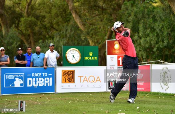 Edoardo Molinari of Italy tees off during the fourth round of the Trophee Hassan II at Royal Golf Dar Es Salam on April 16 2017 in Rabat Morocco