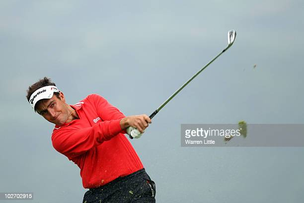 Edoardo Molinari of Italy tees off on the 8th hole during round one of The Barclays Scottish Open at Loch Lomond Golf Club on July 8 2010 in Luss...