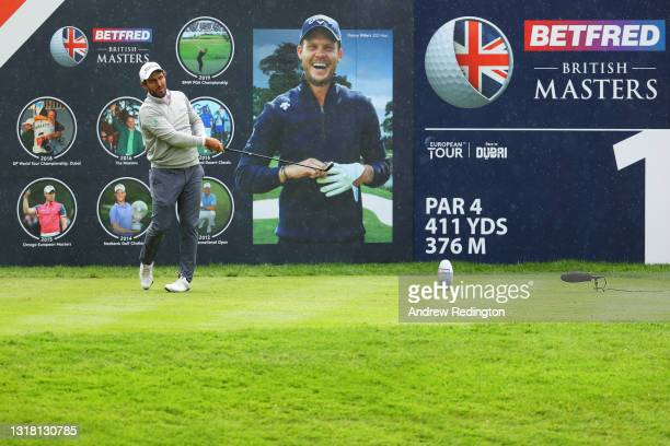 Edoardo Molinari of Italy tees off on the first hole during the Final Round of The Betfred British Masters hosted by Danny Willett at The Belfry on...