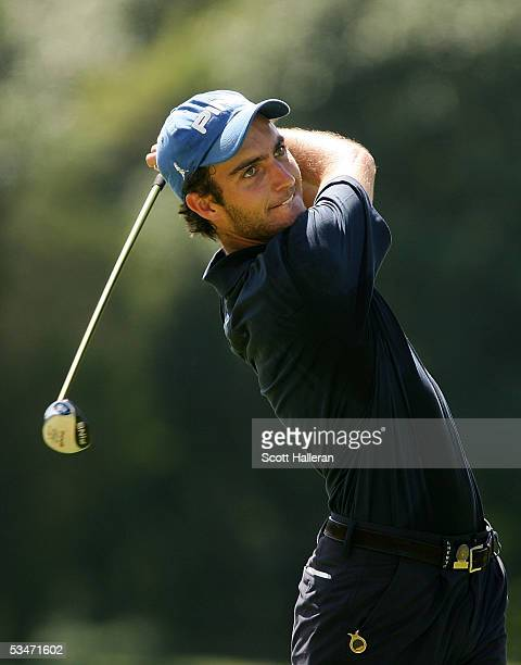 Edoardo Molinari of Italy watches his tee shot on the 14th hole during his semifinal match with Austin Eaton III at the 2005 U.S. Amateur...