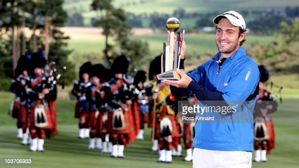Edoardo Molinari of Italy with the winners trophy after the final round of The Johnnie Walker Championship at the Gleneagles Hotel and Resort on...