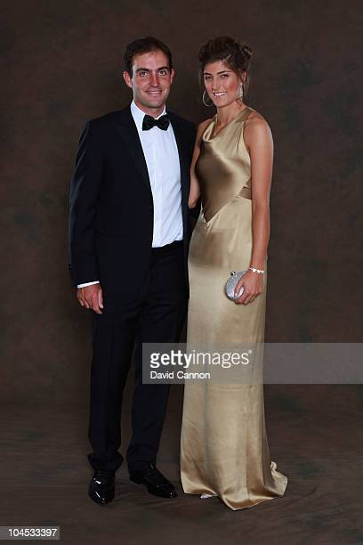 Edoardo Molinari of the European Ryder Cup team poses with his partner Anna Roscio prior to the 2010 Ryder Cup Dinner at the Celtic Manor Resort on...
