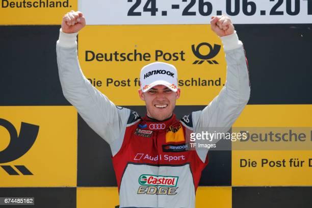 Edoardo Mortara, Jamie Green and Paul Di Resta celebrates winning the race of the DTM 2016 German Touring Car Championship at Norisring on June 25,...